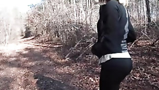 Quickie Blowjob and bonk while Hiking close by an obstacle Woods